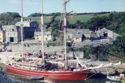 The Vanessa Ann being converted into a sailing vessel in Cornwall